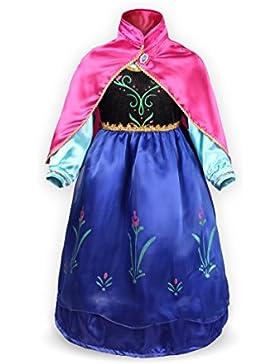 Katara 1009-0002 - Mädchen Prinzsssin Anna Zweischichtig Kostüm Kleid mit Umhang