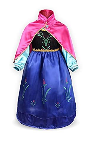 Katara 1009-0004 - Mädchen Prinzessin Anna Zweischichtig Kostüm Kleid mit Umhang 128-134, blau/schwarz/rosa