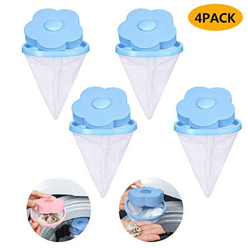 Flower-Type Waschmaschine, Floating Fussel, Netzbeutel, Haarfilter-Netzbeutel, Waschmaschine, Haarentfernung, Wäschefilterbeutel zum Haarball Blue-4 Pack -