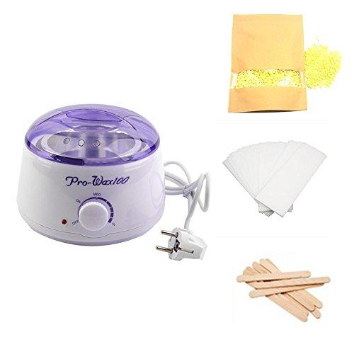 Wachswärmer-Kit, Rick Electric Wachs-Heizung Haarentfernung Waxing Kit, Wachsschmelzer für Enthaarungsmittel mit 300g Wachs Bohnen, 10 Wachsspatel, 50 Waxing-Streifen