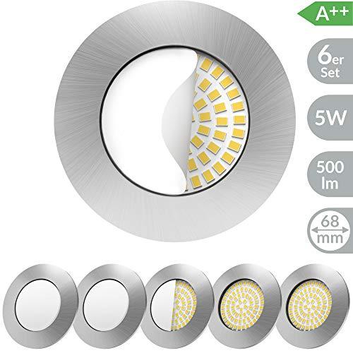 Scandinavian home 6er Set LED Einbaustrahler   ultra flach Badezimmer geeignet   warmweiß 220 / 230V CRI 90 5W 500lm 3000K   Edelstahldesign mit Milchglas   LED Spot Deckeneinbauleuchte 60-68mm