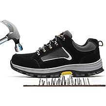 ac3d65076ca Unisex Hombre Mujer Zapatillas de Seguridad con Puntera de Acero  Antideslizante Transpirable S3 Zapatos de Trabajo