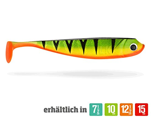 4 Lieblingsköder Gummifische zum Zanderangeln mit Gummifisch 12,5 cm, Farbe Lieblingsköder:Firetiger