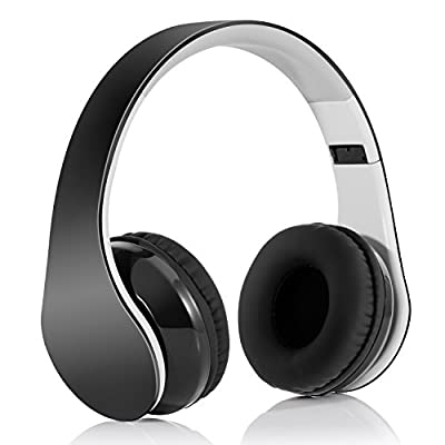Over-ear Headphones ,LinkWitz Bluetooth4.1 Wireless Foldable Hi-Fi Stereo Headsets with 3.5mm Audio Jack MIC, 15 Hours Playtime for Smart Phones & Tablets - Black