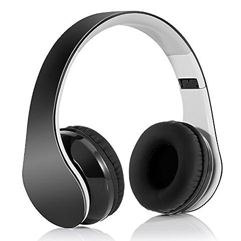 Headphones Pliable Casque Bluetooth 4.1 Sans Fil Hi-Fi Stéréo avec 3,5 mm Audio Jack MIC pour Smart Phones & Tablettes - Noir