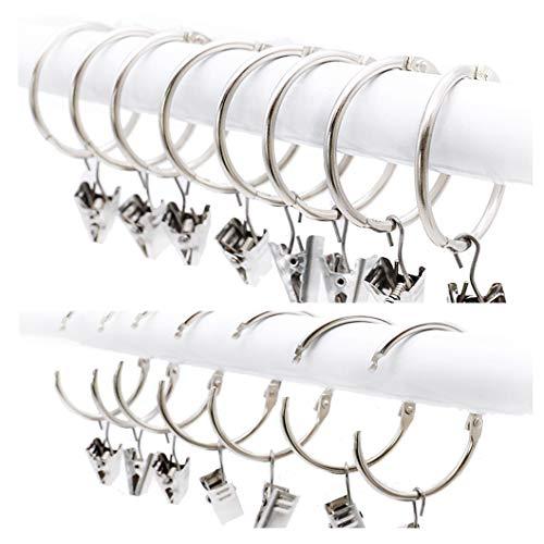 25 pezzi anelli per tende con clip, metallo decorativo drappeggio finestra tenda anello ganci con clip forte, inossidabile, facile aprire e chiudere, 38 mm diametro interno, argento