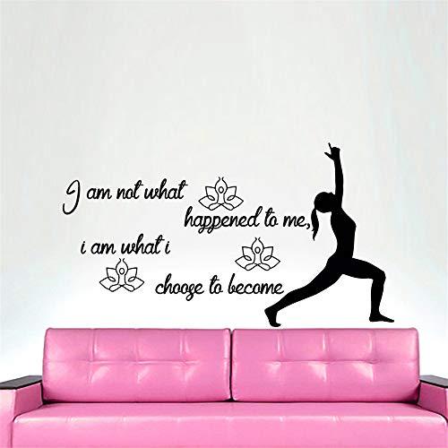 wlwhaoo Ich Bin Nicht was Mir passiert ist Zitat Wandaufkleber Yoga Symnast Silhouette Sofa Hintergrund Wohnkultur gelb 112x59cm