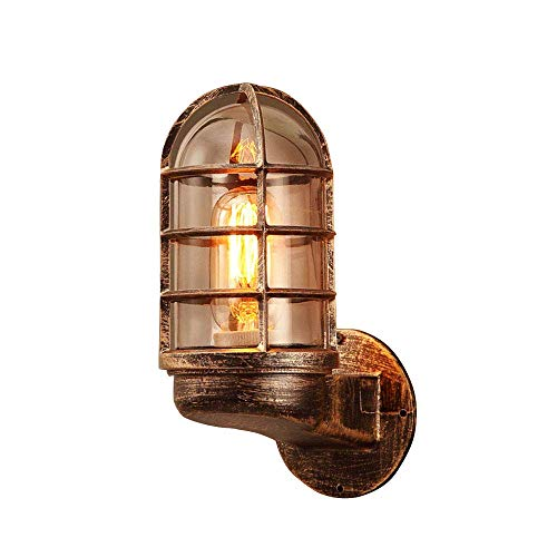 Eisen Wandleuchte Glas Lampenschirm Wasserdichte IP44 Ausenleuchte Retro Industrie Innen/Aussen Wandlampe Outdoor Glaskuppel Designe E27 Licht Treppen Balkon Foyer Club 10 * 16 * 25CM (Rot Bronze) -