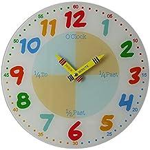 846075a46a23 Enseñar a aprender a Tell tiempo maestro niños leer pared analógico reloj  30 cm ...