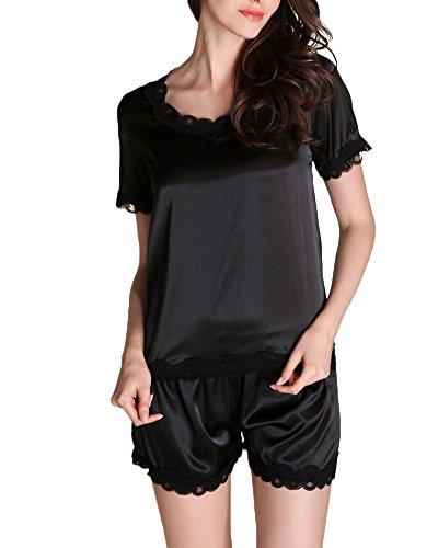 camicia-in-raso-manica-corta-pigiama-due-pezzi-donna-nero-xl