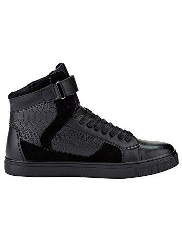 oodji Ultra Herren Hohe Sneakers mit Klettverschluss und Deko Schwarz (2900N)