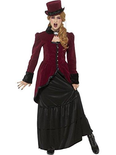 Smiffys, Damen Deluxe Viktorianische Vampirin Kostüm, Jacke, Rock und Brosche, Größe: 40-42, (Kostüme Vampir Viktorianischer)