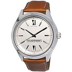 Triarrows Classic Herren-Armbanduhr 45mm Armband Leder Braun Gehäuse Edelstahl Quarz Analog TOL06