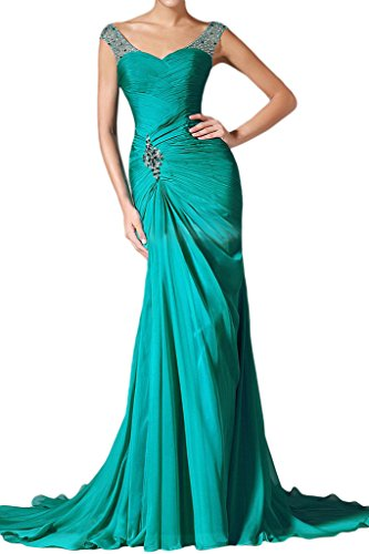 Ivydressing Damen Mermaid Herz-Ausschnitt Chiffon&Tuell Lang Promkleid Abendkleid Blau