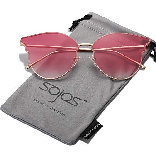 SOJOS Katzenaugen Sonnenbrille Runde Damen Schick Groß Verspiegelt Modernem Design Cateye SJ1055 (C8B Gold Rahmen/Verlauf burgunderrot Linse)