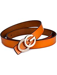 SJMM-YD Señoras Cuero Liso Hebilla de Cinturon de Ocio Personalidad GG  Hebilla de Cinturon de Cuero Cinturon… 943007d54e7d