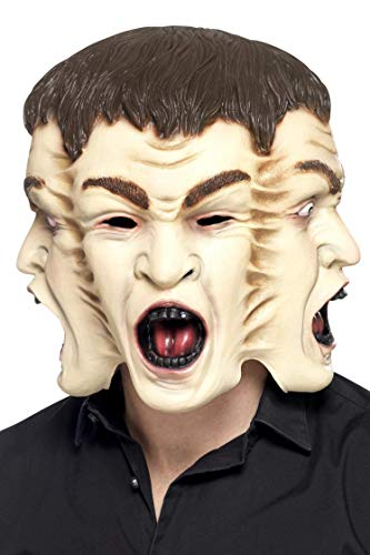 Smiffys Herren 3 Gesichter Latex Maske, One Size, Hautfarbe, 45585