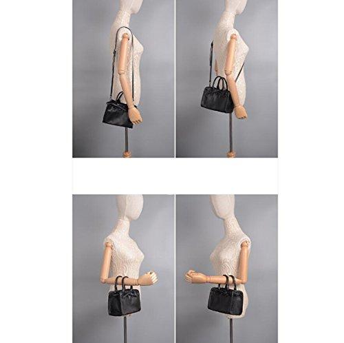 Donna Nuovo Stile Buco Pu Stile Retrò Moda Legame Di Arco Durevole Temperamento Sacchetto Di Spalla Singolo Sacchetto Di Spalla Inclinato Borsa Black