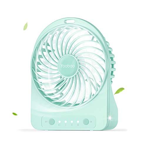 Geschwindigkeit Elektrische Feld (Yoobao Mini Ventilator, USB Ventilator Klein Lüfter mit 3 Einstellbare Geschwindigkeiten, 3300mAh aufladbarer Batterie, LED Licht für Zuhause, Reisen, Picknick und Outdoor-Aktivitäten (Grün))