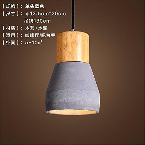 Xzyuyu American Light Industrial Wind Restaurant Blue Small Kronleuchter Minimalistisch Modern Bed Kreative Persönlichkeit Holz Zement Bar Single Scheinwerfer