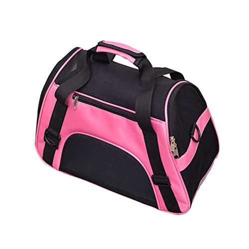 Pet Carrier Airline Approvato il viaggio Trasporti Pet Carry Bag portatile Tote Bag per animali domestici con i rilievi smontabili in pile per i piccoli cani gatti spalla Valigia cinghie Rosa (L)