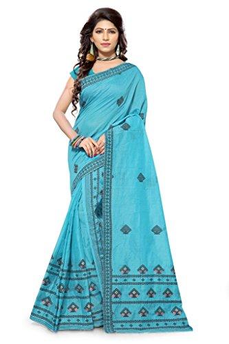 S. Kiran's Women's Assamese Weaving Chanderi Mekhela Chador - Blue Mekhla Sador