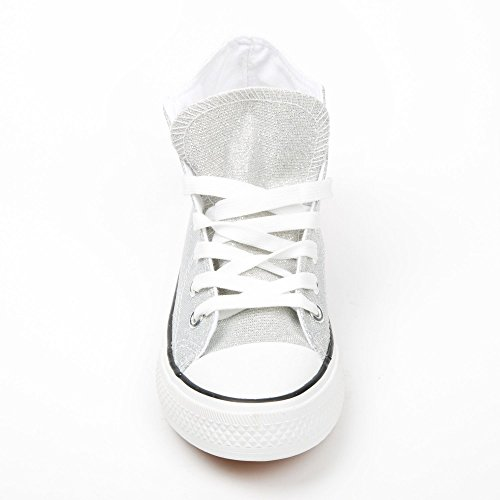 Ideal Shoes – Basket Alte e glitterate Jeannie Argento