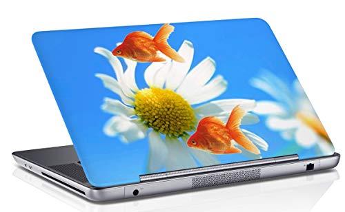 RADANYA Fisch Mit Floral Bedruckten Laptop Haut Abdeckung Multicolor Notebook Haut Aufkleber Kunstabziehbild Passt 14.1 Bis 15.6 Zoll