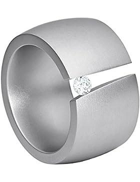 steel_art Damen-Ring aditus glanzmatt Swarovski zirkonia peridot 3 mm Ring mit Stein Zirkonia Diamant Brillantfassung...