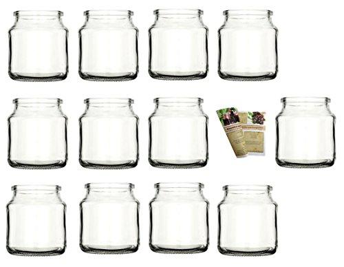 gouveo 12er Set Teelichtgläser Rondo und 28-seitige Flaschendiscount-Rezeptbroschüre Windlichter, Windlichthalter, Vase