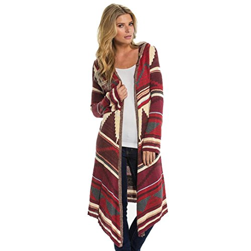 Zolimx Frauen Gedruckt Langer Hooded Kimono Strickjacke Mantel Aufdecken Tops (L, Rot)