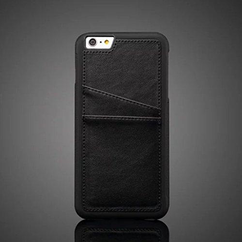 EKINHUI Case Cover PU-lederner rückseitiger Abdeckungs-Fall mit Einbauschlitzen für IPhone 6 u. 6s ( Color : Black ) Black