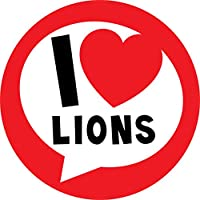 I Love Lions Sticker Labels (24 Stickers, 4.5cm Each) NON PERSONALISED Seals Ideal for Party Bags, Sweet Cones, Favours, Jars, Presentations Gift Boxes, Bottles, Crafts