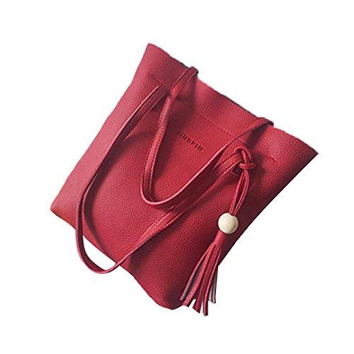 wlgreatsp 3 Stück PU Leder Handtasche Schultertasche Tote Handtasche Umhängetasche (Überprüfen Schulter Sie Tote)