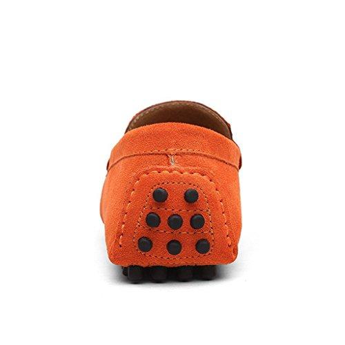 CCZZ Hommes Passant Conduite Chaussures Mocassins Cuir Suedé Classic Homme Chaussure Orange