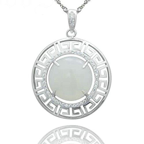 BeyDoDo Modeschmuck 925 Sterling Silber Damen Anhänger Halskette mit Gravur Muster Rund Zirkonia Weiß Kette