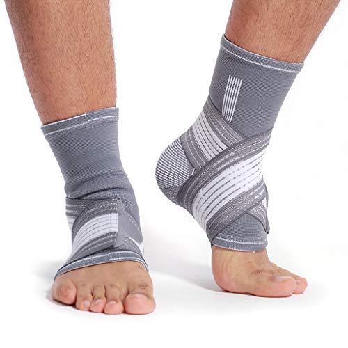 Neotech Care Sprunggelenkbandage zur Unterstützung (1 Paar) - elastischer & atmungsaktiver Stoff - verstellbarer Kompressionsriemen - Männer, Frauen - linker oder rechter Fuß - Grau (M)