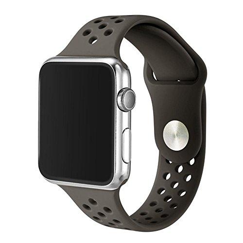 Preisvergleich Produktbild Kobwa 38MM / 42MM Uhrenarmband für Apple Watch,  Weicher Silikon Sportbügel mit Belüftungslöchern Smart Uhrenarmband Ersatzbänder für Iwatch Serie 1 Serie 2