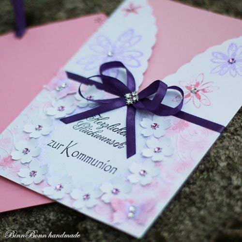 Personalisierte A5 Glückwunschkarte Glückwunsch Grußkarte Kommunion rosa Mädchen Handarbeit binnbonn