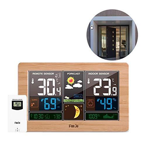Ritapreaty Wetterstation EU-Stecker mit Außensensor-Farbdisplay Wetterstation Wecker mit Temperaturwarnungen, Vorhersage