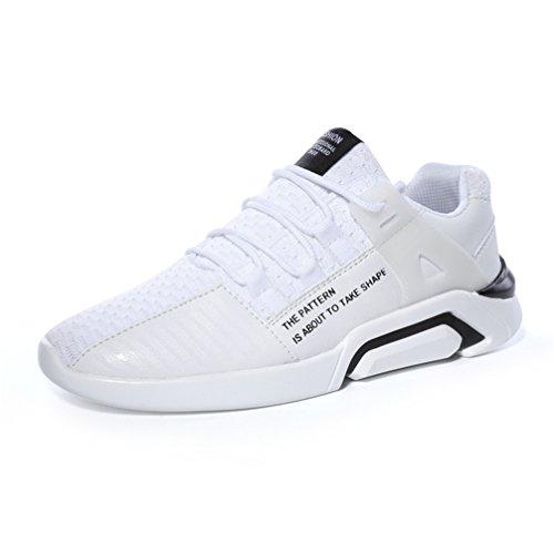 UBFen Uomo Donna Scarpe da Sportive Corsa Running Ginnastica Sport e Tempo Libero Sneakers Casual Tessuti a mano Bianco Nero 36-47 C Bianco