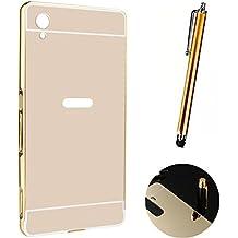 Funda Espejo Aluminio Metal Carcasa para Sony Xperia M4 Aqua Color Oro