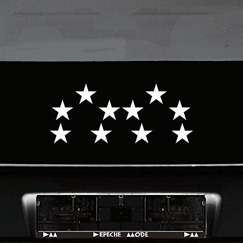 10 Stück Sterne Klebesterne Stern 5cm Auto Heck Fenster Aufkleber Tattoo die cut Deko Folie (weiß) (Auto-fenster-folie 5)