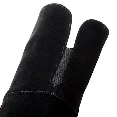 AgooLar Damen Rund Zehe Blend-Materialien Reißverschluss Hoch-Spitze Stiefel Schwarz-Fransig