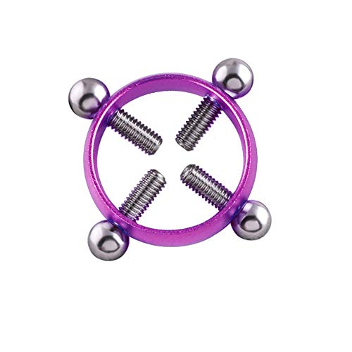 Leoie Fashion Women Colorful Piercing Breast Nail Screw Bell Pendant Fake Nipple Ring Jewelry Purple