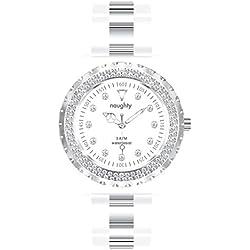 Damen Armbanduhr, Swarovski-Kristalle, Silikon, Weiß, Motiv Naughty 2