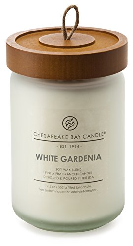 All Natural Soy Jar Candle (Chesapeake Bay Kerze Heritage Collection Glas Kerze groß mit Deckel, White Gardenia, L Jar)