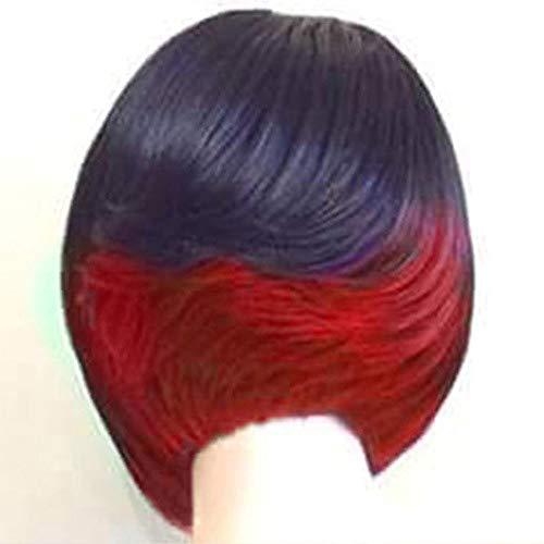 GHF Kurze Bob Hair Perücken 12in gerade mit flachen Pony synthetische Bunte Cosplay tägliche Party Perücke für Frauen natürlich wie echtes Haar + Free Perücke Kappe,Black+red