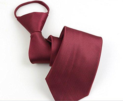 J*myi Herren Krawatte Reißverschluss faul leicht zu Ziehen Schwarze Krawatte (Wine Red)