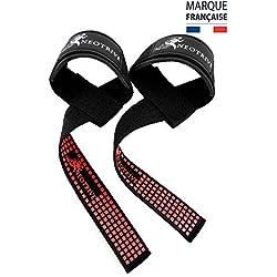 Neotrive Sangles de Levage de Musculation/Halérophilie Bandes Straps Rembourrées Support de Poignet c Grips en Gel Flex (Rouge et Noir)